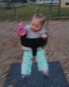Sometimes it's 60 degrees in December. So sometimes we swing in the park when Mommy is done with her run :)